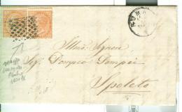 V.E.II Cent.10+10,SU LETTERA,1870, POSTE ROMA, ANNULLO NUMERALE RETTANGOLARE A PUNTI,MUTO SENZA NUMERO, SPOLETO,RR