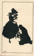 LOVER TIES BEAUTY'S SHOE ~ FINE OLD SILHOUETTE Postcard - Silhouette - Scissor-type