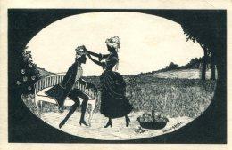 FANCY LOVERS ~ FINE OLD SILHOUETTE Postcard MANNI GROSZE - Silhouette - Scissor-type