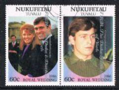 Tuvalu - Nukufeta 1986 Royal Wedding (2nd) 60c Se-tenant Pair Good/fine Used [9/10869/2D]