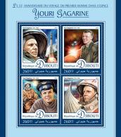 DJIBOUTI 2016 ** Yuri Gagarin Space Raumfahrt Espace M/S - OFFICIAL ISSUE - A1642