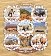 GUINEA BISSAU 2016 ** Rhinoceros Rhino Nashorn M/S - IMPERFORATED - A1642