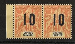 Grande Comore N°Yv. 26 Et 26A Se Tenant - Chiffres Espacés - Neuf Luxe ** - MNH - Postfrisch - Cote 111 EUR