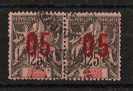 Grande Comore N°Yv. 24 Et 24A Se Tenant - Chiffres Espacés - Oblitéré / Used - Cote 15,7 EUR