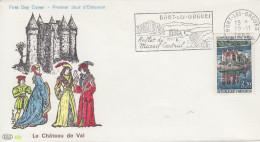 Enveloppe   Flamme   Du   1er   Jour    Château   De   VAL        BORT   Les   ORGUES    1966