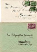 DR 1920/23: 20 Pf Germania Grün Als MeF, Dazu 100 M Wz. 2 Als EF, Beide Bahnpoststempel, Gute Erhaltung