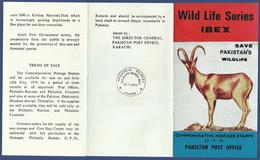 PAKISTAN 1976 MNH LEAFLET BROCHURE VERY RARE IBEX WILD LIFE SERIES NO. 4, WILDLIFE, MOUNTAIN GOAT
