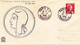 FDC Enveloppe Premier Jour FRANCE 1955 Marianne De MULLER 15F Rose Carminé YT 1011