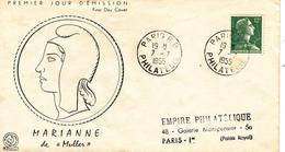FDC Enveloppe Premier Jour FRANCE 1955 Marianne De MULLER 12F  Vert Jaune YT 1010
