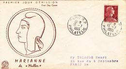 FDC Enveloppe Premier Jour FRANCE 1955 Marianne De MULLER 6F Brun Rouge YT 1009
