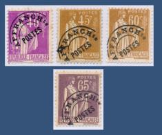 PRÉOBLITÉRÉ N° 70-71-72-73 TYPE PAIX 1937-41 - NEUFS SANS GOMME = OBLITÉRÉS -