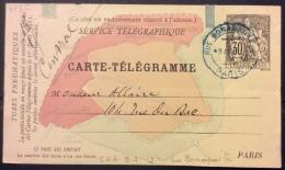 VP85  Entier Postal Pneumatique Carte Télégramme  Chaplain 30 Rue Bonaparte