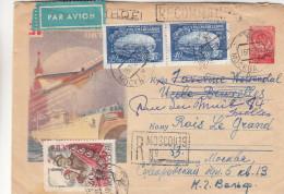 Russie - Lettre Recommandée De 1958 - Oblitération Moscou - Expédié Vers Bruxelles - Drapeaux - Soldats