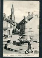 CPA - TARBES - La Fontaine Et La Place Montaut, Animé - Tarbes