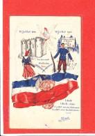 PATRIOTIQUE  Cpa Animée  14 Juillet 1789 14 Juillet 1944 Soulevement Victoire Paix Illustrée Par Berriot Reims - Patriotic