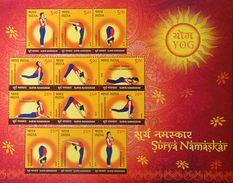 INDIA 2016 Suryanamaskar Yoga M/S 10nos. MINIATURE SHEETS MNH
