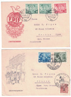 "ALLEMAGNE - 1955 LOT De 2 ENVELOPPES ""ersttagsbrief"" : Jahre Frauentag (FDIF) + Leipziger Messe - [7] République Fédérale"