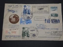 FRANCE / MAROC - Enveloppe En Recommandée De La JTD De Casablanca Pour Dakar En 1950 , Par Avion - A Voir - L 4907