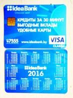 Small Calendar From Belarus 2016 Idea Bank Visa Classic Card - Small : 2001-...