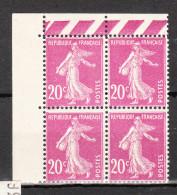 FRANCE YT  190 ** Bloc De 4 - 1906-38 Semeuse Camée
