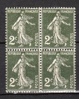 FRANCE YT  278 ** Bloc De 4 - 1906-38 Semeuse Camée