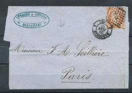 N°16 Sur Lettre De Marseille Pour Paris 20/6/57