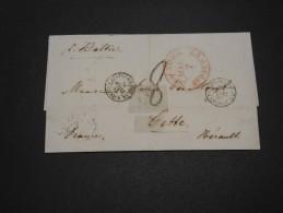 ETATS UNIS - Lettre De New York Pour La France En 1855 Par Voie Anglaise Par Calais - A Voir - L 4928 - …-1845 Vorphilatelie