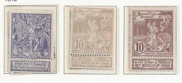BELGIQUE - BELGIE 71/73  Plakker - Charniere - 1894-1896 Tentoonstellingen