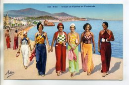 "06 NICE Elegantes Jeunes Femmes Mode ' Groupe De Pyjamas En Promenade "" 1920    /D18-2016 - Niza"