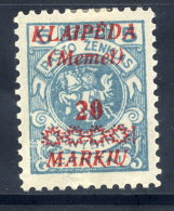 MEMEL (Lithuanian Occ) 1923 (Feb) 25 Mk. On 25 C. With Variety Vertical Bar After Stars, MH / *.  Michel 136 PF - Klaipeda