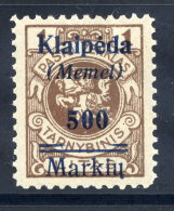 MEMEL (Lithuanian Occ) 1923 (7. Feb) 400 Mk. On 1 L. With Variety Upper Bar Mostly Missing, LHM / *.  Michel 134 V - Klaipeda