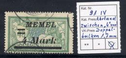 MEMEL 1922 (12. Sep.) Overprint 4 Mk. On 45 C. With 1.7mm Between Bars And 4, Used.  Michel 91 IV - Klaipeda