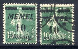 MEMEL 1922 (18. Jan.) Overprint 10 Pf.. On 10 C. In A And B Shades, Used.  Michel 54a-b - Klaipeda