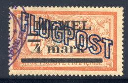 MEMEL 1921 (6. Jul.) Airmail Overprint  On 4 Mk.. On 2 Fr.. On GC Paper, Used.  Michel 46x - Klaipeda