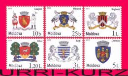 MOLDOVA 2015 Heraldry Coat Coats Of Arms Emblems Of Moldavian Cities Towns Definitive Mi 898-903 MNH