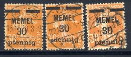 MEMEL 1920 Overprint  30 Pf.. On 30 C.  In All Types Used.   Michel 21x, Y, Z - Klaipeda