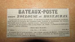 BATEAUX-POSTE Entre TOULOUSE Et MONTAUBAN ( HORAIRES / PRIX ) -  JOURNAL DE TOULOUSE - ANNONCE / PUBLICITE  ANNEE 1845. - Publicités
