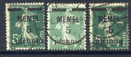 MEMEL 1920 Overprint  5 Pf.. On 5 C.  In All Types,  Used.   Michel 18 A, B,c - Klaipeda