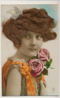 Carte à Cheveux Tres Jolie Petite Fille Avec Cheveux Reels Et Ruban Soie - Cartoline