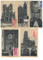 FR-CM1 - FRANCE N° 663/667 Cathédrales Sur Cartes Maximums - 1940-49