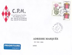 Lettre Prioritaire Voyagée De Monaco Pour La Suisse Le 20/09/2000 Tp De Monaco Cactus Et Blasons Superbe Exc 2495
