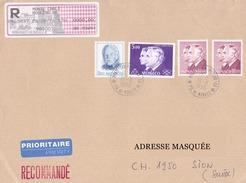 Lettre Recommandée Voyagée De Monte Carlo Pour La Suisse Le 28/08/1996 Tp De Monaco Prince Rainier, Poste Aérienne Princ
