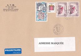 Lettre Prioritaire Voyagée De Monte Carlo Pour La Suisse Le 02/04/1997 Tp De Monaco Alexandre Dumas,Automobile Rochet-Sc