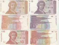 8064) CROAZIA 1 - 5 - 10 DINARA DINARI FDS - Croatie