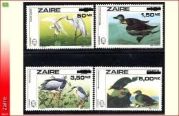 Zaire 1470/73**   Audubon Surcharges   MNH 2 Dessins De Buzin