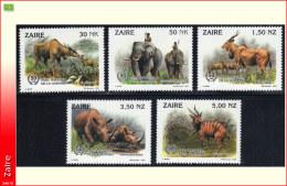 Zaire 1452/56** Animaux De Brousse Parc De La Garamba  MNH  BUZIN