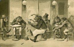 DRESSED MONKEYS BAR FIGHT FINE EARLY EMBOSSED Postcard - Affen