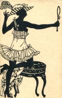 ART DECO SILHOUETTE RISQUE LADY WITH MIRROR FINE OLD Postcard - Silhouette - Scissor-type