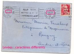 LEVEES  DIFFERENTES, PARIS XVII AVENUE DE WAGRAM Sur Enveloppe GANDON. 1946. - Postmark Collection (Covers)