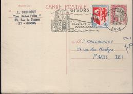 CP Entier  0,25 Marianne De Décaris Sur Blanc Crèmeux Oblit. Flamme =o 27 Gisors 3-11 1969 - Cartes Postales Types Et TSC (avant 1995)